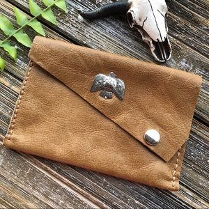 Leather Boho Thunderbird Pouch